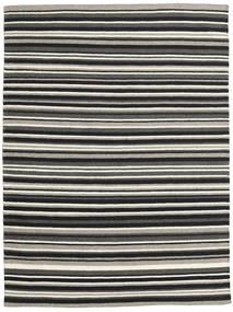 Kelim Moderne Tapijt 143X194 Echt Modern Handgeweven Zwart/Donkergrijs (Wol, India)