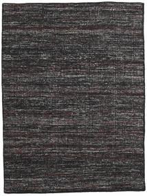 Kelim Moderne Tapijt 144X195 Echt Modern Handgeweven Zwart/Donkergrijs (Wol, India)