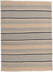 Kelim Modern Teppich  162X221 Echter Moderner Handgewebter Hellbraun/Hellgrau (Wolle, Indien)