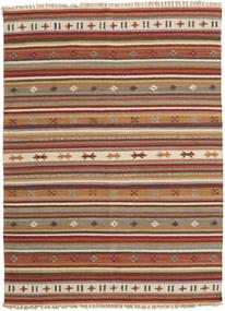 Kelim Moderni Matto 142X195 Moderni Käsinkudottu Vaaleanruskea/Tummanpunainen (Villa, Intia)