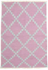 キリム モダン 絨毯 123X180 モダン 手織り ライトピンク/薄い灰色 (ウール, インド)