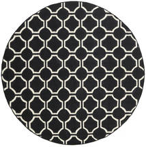 London - Black/Off White Rug Ø 225 Authentic  Modern Handwoven Round Black/Beige (Wool, India)