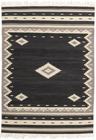 Tribal - Black Rug 140X200 Authentic  Modern Handwoven Black/Beige (Wool, India)