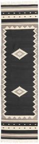 Tribal - Zwart Vloerkleed 80X300 Echt Modern Handgeweven Tapijtloper Zwart/Lichtgrijs (Wol, India)