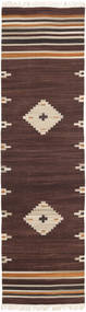 Tribal - Brown Rug 80X300 Authentic  Modern Handwoven Hallway Runner  Dark Brown/Beige (Wool, India)