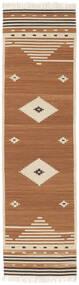 Tribal - Musztardowa Żółć Dywan 80X300 Nowoczesny Tkany Ręcznie Chodnik (Wełna, Indie)