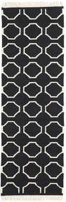 London - Black/Off White Rug 80X350 Authentic  Modern Handwoven Hallway Runner  Black/Beige (Wool, India)