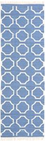 London - Blauw/Gebroken Wit Vloerkleed 80X350 Echt Modern Handgeweven Tapijtloper Blauw/Beige (Wol, India)