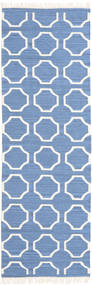 London - Blue/Off White Rug 80X250 Authentic  Modern Handwoven Hallway Runner  Blue/White/Creme (Wool, India)