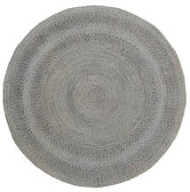 Kex - Slate Rug Ø 225 Authentic  Modern Handwoven Round Light Grey/Dark Grey ( India)
