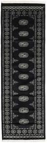 Pakistan Bokhara 2Ply Tapijt 77X235 Echt Oosters Handgeknoopt Tapijtloper Zwart/Donkergrijs (Wol, Pakistan)