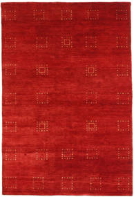 Gabbeh Loribaft Rug 3′10″x5′9″ Authentic  Modern Handknotted Rust Red (Wool, India)