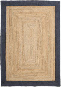 Frida Frame - Natural/Navy Rug 160X230 Authentic  Modern Handwoven Light Brown/Dark Beige/Dark Blue ( India)