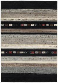 Gabbeh Loribaft Teppich  136X200 Echter Moderner Handgeknüpfter Schwartz/Hellgrau (Wolle, Indien)