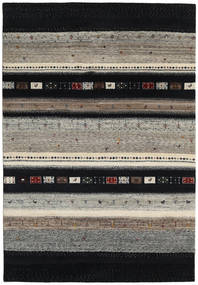 Gabbeh Loribaft Rug 136X200 Authentic  Modern Handknotted Black/Light Grey (Wool, India)