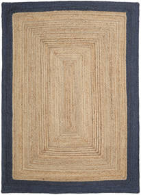 Jute Rug 160X230 Authentic  Modern Handwoven Light Brown/Dark Blue ( India)