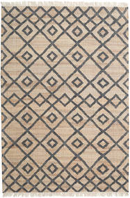 Jute Teppich  160X230 Echter Moderner Handgewebter Beige/Dunkelgrau/Hellgrau ( Indien)