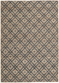 Jute Rug 160X230 Authentic  Modern Handwoven Light Brown/Dark Grey ( India)