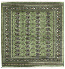 Pakistan Bokhara 2Ply Rug 202X207 Authentic  Oriental Handknotted Square Dark Green/Olive Green (Wool, Pakistan)