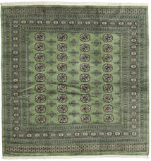 Pakistan Bokhara 2Ply Rug 203X208 Authentic  Oriental Handknotted Square Dark Green/Olive Green (Wool, Pakistan)
