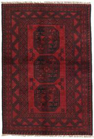 アフガン 絨毯 95X144 オリエンタル 手織り 深紅色の/黒 (ウール, アフガニスタン)