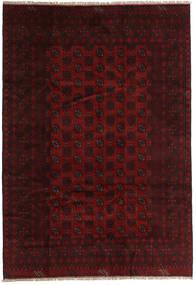 Afghan Matta 198X285 Äkta Orientalisk Handknuten Mörkbrun/Mörkröd (Ull, Afghanistan)