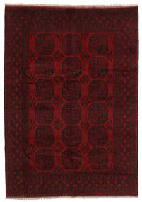 Afghan Matta 200X285 Äkta Orientalisk Handknuten Mörkbrun/Mörkröd (Ull, Afghanistan)
