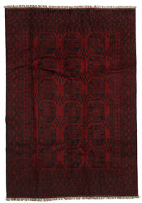 Afghan Teppe 194X279 Ekte Orientalsk Håndknyttet Mørk Brun/Mørk Rød (Ull, Afghanistan)