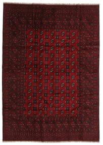 Afghan Matto 200X280 Itämainen Käsinsolmittu Tummanpunainen/Tummanruskea (Villa, Afganistan)