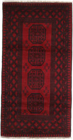 Afghan Rug 101X194 Authentic  Oriental Handknotted Dark Brown/Dark Red (Wool, Afghanistan)
