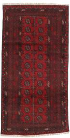 Afghan Teppe 96X193 Ekte Orientalsk Håndknyttet Mørk Rød (Ull, Afghanistan)