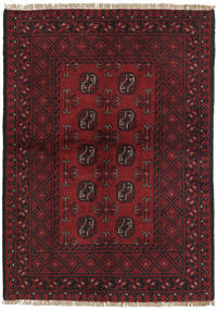 Afghan Teppich  96X138 Echter Orientalischer Handgeknüpfter Dunkelrot/Schwartz (Wolle, Afghanistan)