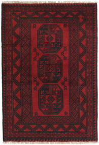 アフガン 絨毯 96X142 オリエンタル 手織り 深紅色の/黒 (ウール, アフガニスタン)