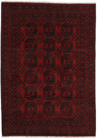 Afghan Matto 204X291 Itämainen Käsinsolmittu Tummanpunainen (Villa, Afganistan)