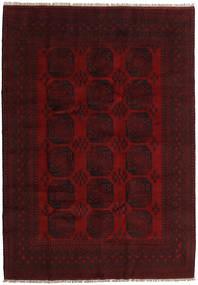 Afghan Matta 203X287 Äkta Orientalisk Handknuten Mörkbrun/Mörkröd (Ull, Afghanistan)