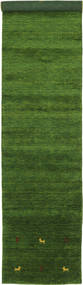 Gabbeh Loom Two Lines - Verde Alfombra 80X350 Moderna (Lana, India)