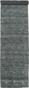 Gabbeh Loom Two Lines - Dark Grey/Green Rug 80X350 Modern Hallway Runner  Dark Green/Light Grey (Wool, India)