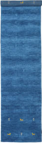 Gabbeh Loom Two Lines - Blue Rug 80X350 Modern Hallway Runner  Blue/Dark Blue (Wool, India)
