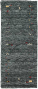 Gabbeh Loom Frame - Dark Grey/Green Rug 80X200 Modern Hallway Runner  Dark Grey/Dark Green/Light Grey (Wool, India)