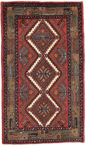 Hamadan Matto 74X126 Itämainen Käsinsolmittu Tummanpunainen/Musta (Villa, Persia/Iran)