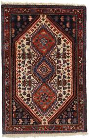 Yalameh Rug 83X124 Authentic  Oriental Handknotted Dark Red/Black (Wool, Persia/Iran)