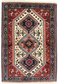 Yalameh Rug 98X141 Authentic Oriental Handknotted Dark Red/Beige (Wool, Persia/Iran)