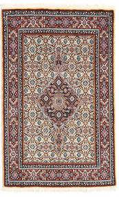 Moud Matta 76X119 Äkta Orientalisk Handknuten Mörkblå/Ljusbrun (Ull/Silke, Persien/Iran)