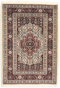 Moud Matto 81X117 Itämainen Käsinsolmittu Tummanruskea/Beige (Villa/Silkki, Persia/Iran)