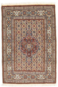 Moud Szőnyeg 82X121 Keleti Csomózású Világosbarna/Bézs (Gyapjú/Selyem, Perzsia/Irán)