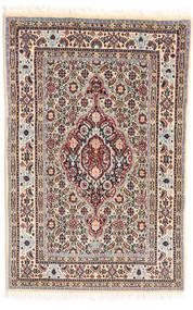 ムード 絨毯 57X88 オリエンタル 手織り 薄茶色/ベージュ (ウール/絹, ペルシャ/イラン)