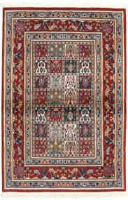 Moud Szőnyeg 98X145 Keleti Csomózású Barna/Sötétkék (Gyapjú/Selyem, Perzsia/Irán)