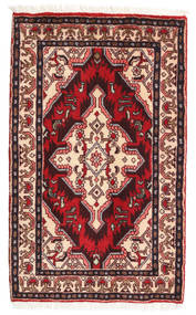 Asadabad Rug 55X92 Authentic  Oriental Handknotted Dark Red/Beige (Wool, Persia/Iran)