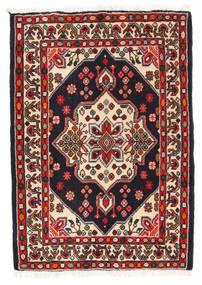 Asadabad Matto 63X90 Itämainen Käsinsolmittu Tummanvihreä/Tummanpunainen (Villa, Persia/Iran)
