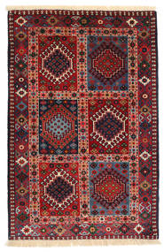 Yalameh Rug 80X125 Authentic  Oriental Handknotted Dark Red/Black (Wool, Persia/Iran)